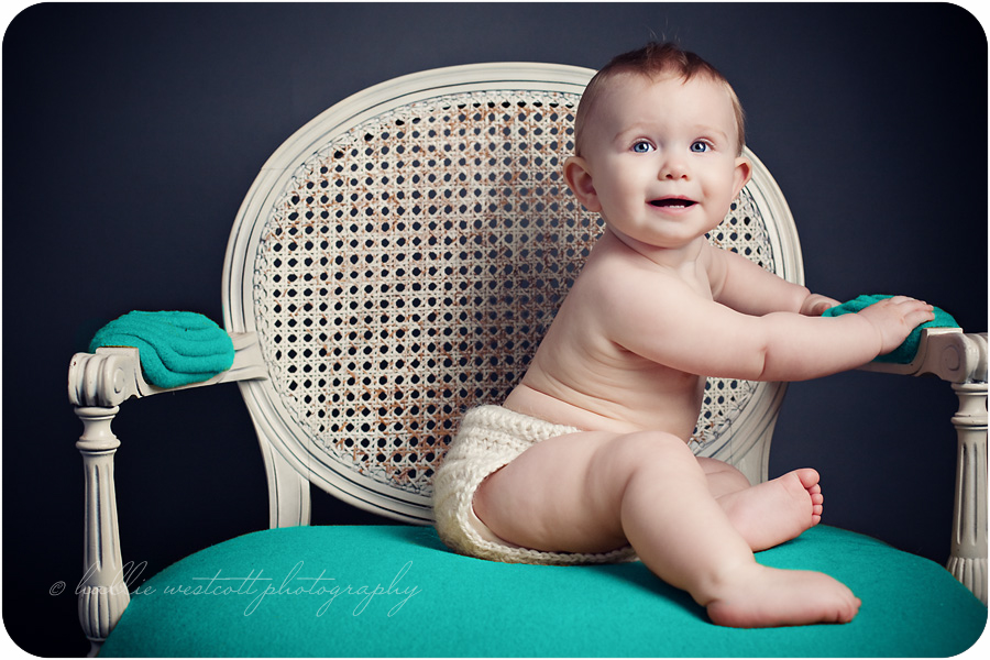 baby photography session with 9 month old taken in studio