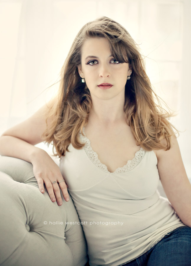 Beautiful girl sits for Hartford, CT photographer during a glamour/ boudoir session