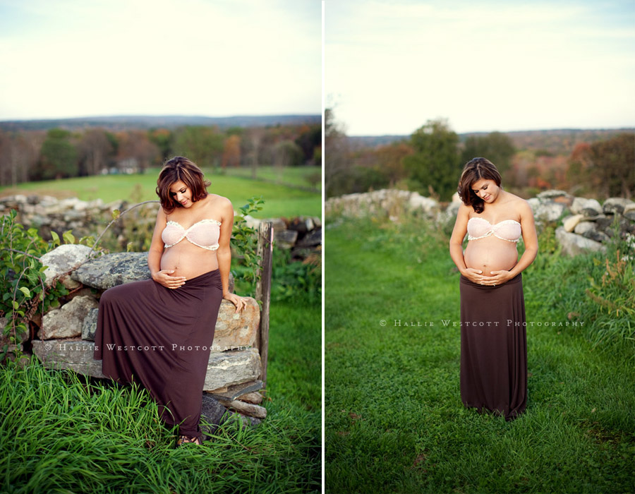 CT maternity photographer captures a beautiful expectant mother at a stunning location in Bolton, CT