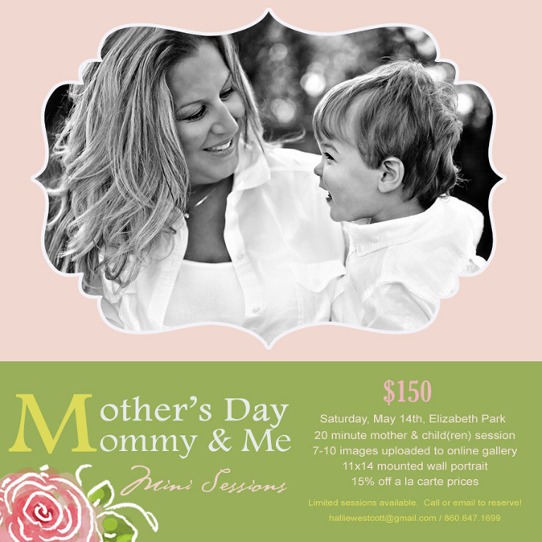 A great Mother's Day gift for moms in CT - Mother's Day Mommy & Me mini session