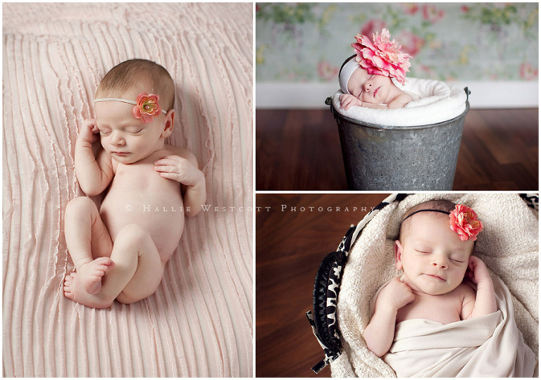 Sleepy baby Isla rests for her newborn session with CT baby photographer Hallie Westcott